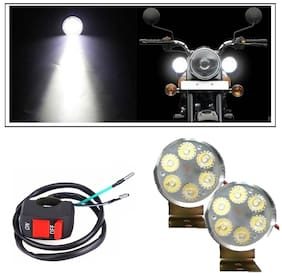 Autosky 6 Led Small Circle Motorcycle Light Bike Fog Lamp Light Set of 2 with On-Off switch
