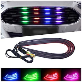 Autosky Universal Car RGB LED Strip Lighting Bars Flexible Front Grill light strip Car Fancy Lights
