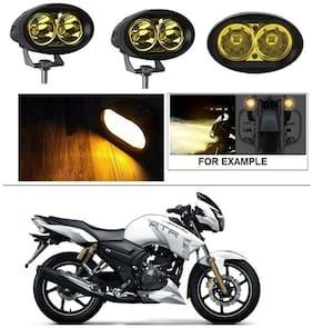 AutoStark 2 pc of YELLOW Oval Shape 20 Watt Cree car / Bike led fog light bar Waterproof for TVS Apache RTR 180