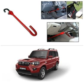 AutoStark 3r Red Car Steering Wheel Lock Pedal Anti Theft Security Device Saftey Interior Accessories For Mahindra New Scorpio 2015