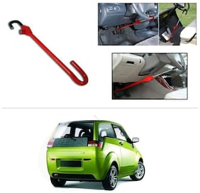 AutoStark 3r Red Car Steering Wheel Lock Pedal Anti Theft Security Device Saftey Interior Accessories For Mahindra E2o (reva)