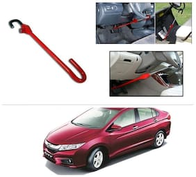 AutoStark 3r Red Car Steering Wheel Lock Pedal Anti Theft Security Device Saftey Interior Accessories For Honda City i-DTEC