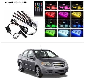 AutoStark 4 In1 Atmosphere Music Control 12 Led Foot Strip Light Car Interior Decorative Light (12 LED)-Chevrolet Optra