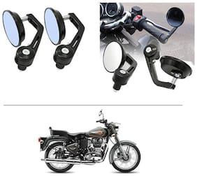 AutoStark 7/8 22cm Motorcycle Rear View Mirrors Handlebar Bar End Mirrors - Royal Enfield Twin spark