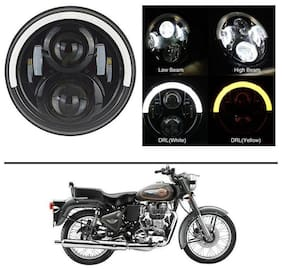 AutoStark 7 LED headlight Round Half Ring Halo Angel Eye Head Lights H4 Hi/Lo Beam For Royal Enfield Bullet 500