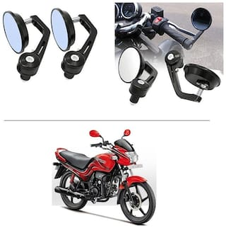 AutoStark 7/8 22cm Motorcycle Rear View Mirrors Handlebar Bar End Mirrors - Hero Passion Plus