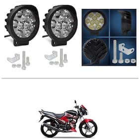 AutoStark 9 LED Round Fog Light 15W Lamp ATV Jeep 4x4 Tractor Off Road Pack of 2 for Yamaha SS