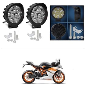 AutoStark 9 LED Round Fog Light 15W Lamp ATV Jeep 4x4 Tractor Off Road Pack of 2 for KTM RC 200