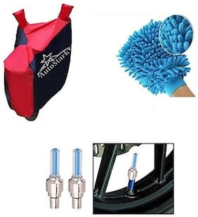 AutoStark Accessories Bike Body Cover Red & Blue + Tyre Led Light Blue + Bike Cleaning Gloves For Royal Enfield Twin spark