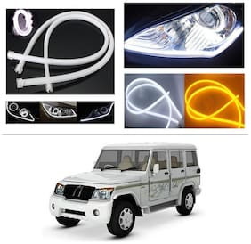 AutoStark Angel Eye 2x Daytime Running Light Tube Guide Soft and Flexible Car LED Strip DRL White and Yellow turn signal light For Mahindra Bolero