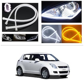 AutoStark Angel Eye 2x Daytime Running Light Tube Guide Soft and Flexible Car LED Strip DRL White and Yellow turn signal light For Maruti Suzuki Swift