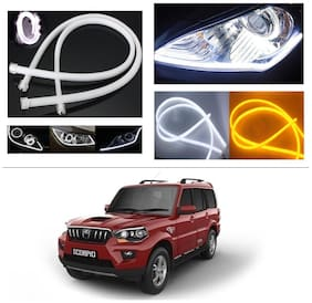 AutoStark Angel Eye 2x Daytime Running Light Tube Guide Soft and Flexible Car LED Strip DRL White and Yellow turn signal light For Mahindra New Scorpio 2015