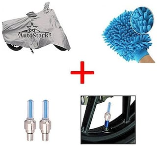 AutoStark Bike Body Cover Silver + Tyre Led Light Blue + Bike Cleaning Gloves For Hero Passion Xpro