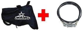 AutoStark Bike Body Cover Black With Helmet Lock For Hero Splendor Pro Classic