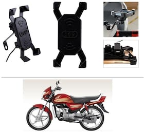 AutoStark Bike Phone Mount /Motorcycle Rotating Cell Phone Stand Mount Holder with USB Charging Port For Hero HF
