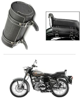 AutoStark Bike Leatherette Round Seat Saddle Bag Black- Royal Enfield 500