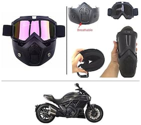 AutoStark Bike Scoter Motorcycle Protective Goggles Bike Face Mask Bike Face Shield (Rainbow Glass) For  Ducati Diavel
