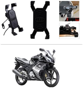 AutoStark Bike Phone Mount /Motorcycle Rotating Cell Phone Stand Mount Holder with USB Charging Port For Yamaha YZF R15 S