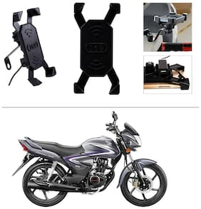 AutoStark Bike Phone Mount /Motorcycle Rotating Cell Phone Stand Mount Holder with USB Charging Port For Hero Glamour