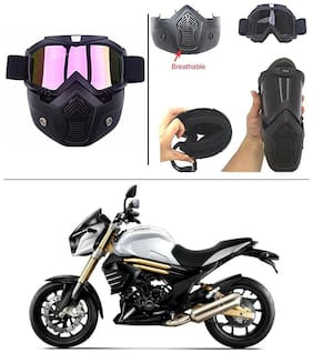 AutoStark Bike Scoter Motorcycle Protective Goggles Bike Face Mask Bike Face Shield (Rainbow Glass) For  Mahindra Mojo