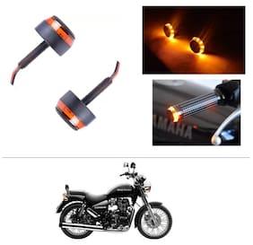 AutoStark Bike Handlebar Light Indicators Bar End Turn Signal Grip (Orange LED;Set of 2;Metal Built- Royal Enfield Thunderbird 350