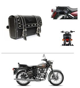 AutoStark Bike Leatherette Rectangular  Seat Saddle Bag Black- Royal Enfield Twin spark
