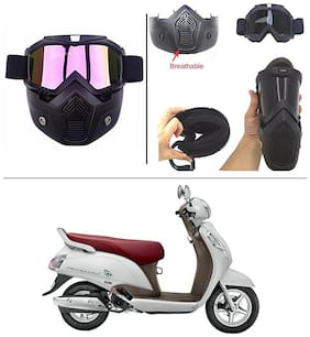 AutoStark Bike Scoter Motorcycle Protective Goggles Bike Face Mask Bike Face Shield (Rainbow Glass) For  Suzuki Access