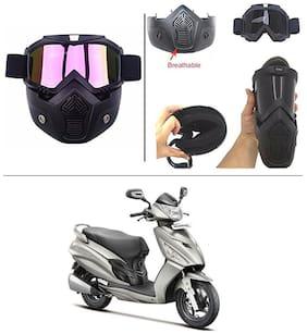 AutoStark Bike Scoter Motorcycle Protective Goggles Bike Face Mask Bike Face Shield (Rainbow Glass) For  Hero Maestro Edge