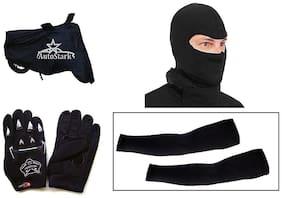AutoStark Bike Combo + Knighthood Gloves + Alpinestar Face Mask + Arm sleeve + Bike Body Cover For Hero HF Deluxe
