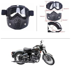 AutoStark Bike Scoter Motorcycle Protective Goggles Bike Face Mask Bike Face Shield (White Glass) For  Royal Enfield Classic 500