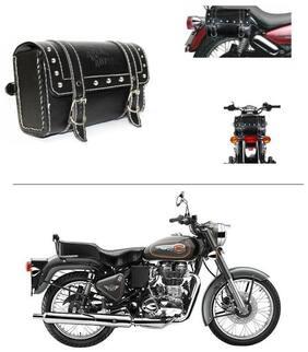 AutoStark Bike Leatherette Rectangular  Seat Saddle Bag Black- Royal Enfield Classic 350