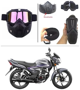 AutoStark Bike Scoter Motorcycle Protective Goggles Bike Face Mask Bike Face Shield (Rainbow Glass) For  Hero Glamour