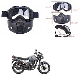 AutoStark Bike Scoter Motorcycle Protective Goggles Bike Face Mask Bike Face Shield (White Glass) For  Honda CB Shine