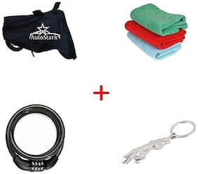 AutoStark Bike Body Cover Black+ Helmet Lock + Microfiber Cleaning Cloth + Jaguar Shaped Keychain For KTM Duke 200