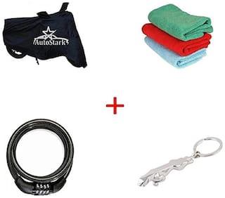 AutoStark Bike Body Cover Black+ Helmet Lock + Microfiber Cleaning Cloth + Jaguar Shaped Keychain For KTM Duke 200