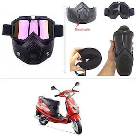AutoStark Bike Scoter Motorcycle Protective Goggles Bike Face Mask Bike Face Shield (Rainbow Glass) For  Mahindra Duro DZ