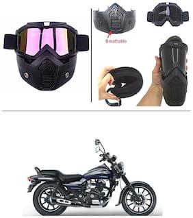 AutoStark Bike Scoter Motorcycle Protective Goggles Bike Face Mask Bike Face Shield (Rainbow Glass) For  Bajaj Avenger 150 Street