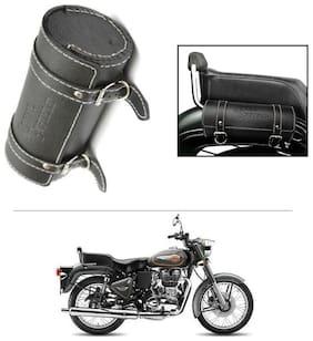 AutoStark Bike Leatherette Round Seat Saddle Bag Black- Royal Enfield Twin spark