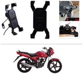 AutoStark Bike Phone Mount /Motorcycle Rotating Cell Phone Stand Mount Holder with USB Charging Port For TVS Jive