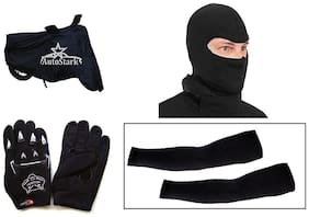 AutoStark Bike Combo + Knighthood Gloves + Alpinestar Face Mask + Arm sleeve + Bike Body Cover For Hero Splendor