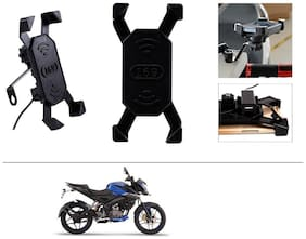 AutoStark Bike Phone Mount /Motorcycle Rotating Cell Phone Stand Mount Holder with USB Charging Port For Bajaj Pulsar NS160