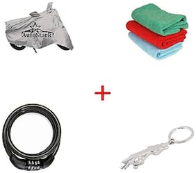 AutoStark Bike Body Cover Silver + Helmet Lock+ Microfiber Cleaning Cloth + Jaguar Shaped Keychain For Bajaj CT 100