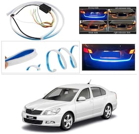 AutoStark Blue Light Car Tail Lamp Strip With Red Backlight And Flowing Indicators For Skoda Laura