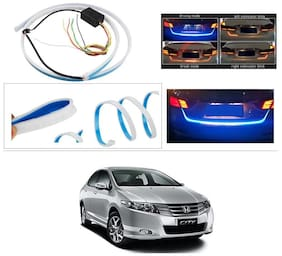 AutoStark Blue Light Car Tail Lamp Strip With Red Backlight And Flowing Indicators For Honda City ZX