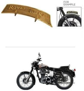 AutoStark Brass Front Fender Plate Mudguard Logo Royal Enfield Golden - Royal Enfield Bullet 350
