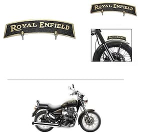 AutoStark Brass Front Fender Plate Mudguard Logo Royal Enfield Golden & Black-  Royal Enfield Thunderbird 500