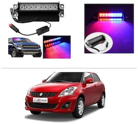 AutoStark Car Led Red Blue Police Style Strobe Lamp Flashing Light Drl -Maruti Suzuki Swift Dzire (New)
