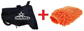 AutoStark Combo Bike Body Cover Black + Microfiber Gloves For Honda CBR 150R