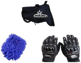 AutoStark Combo Bike Accessories Bike Body Cover Black With Pro Biker Full Gloves + Bike cleaning Gloves For Mahindra Gusto