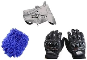 AutoStark Combo Bike Accessories Bike Body Cover Silver With Pro Biker Full Gloves + Bike Cleaning Gloves For Hero Passion Pro